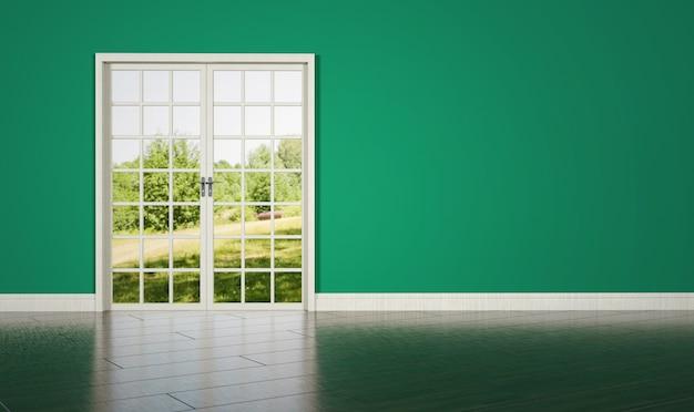 빈 녹색 벽 배경에 화이트 룸 도어 프리미엄 사진