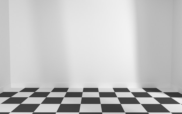 White room with floor checkerboard Premium Photo