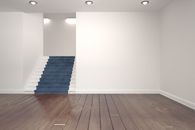 White room with stairs Premium Photo