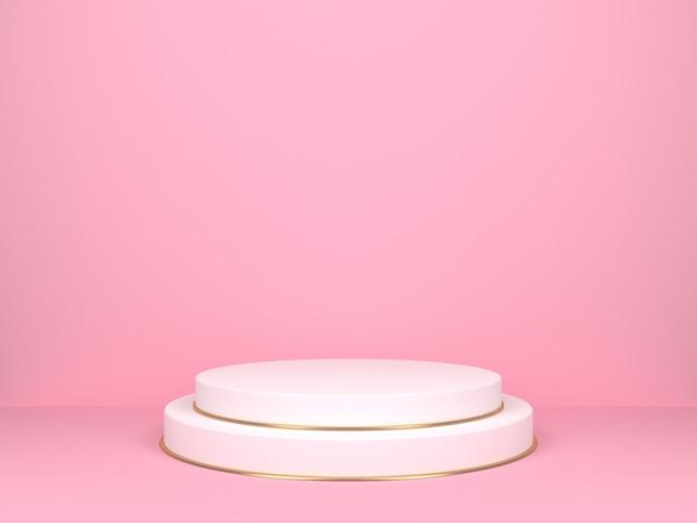 분홍색 배경에 흰색 라운드 무대. 제품 디스플레이를위한 배경. 3d 렌더링 프리미엄 사진