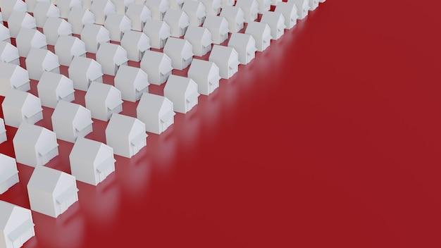 Белые рядные дома с красным полом Premium Фотографии