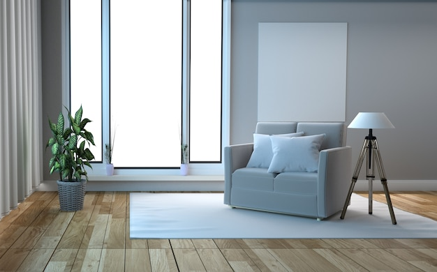 White scandinavian style wooden floor and white wall background. 3d rendering Premium Photo