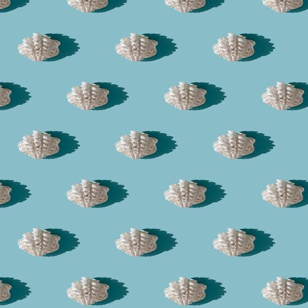 밝은 파란색 배경에 하드 그림자와 흰 바다 셸 완벽 한 패턴입니다. 여름 시즌과 바다 휴가 개념. 자연 배경 프리미엄 사진