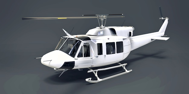 White small military transport helicopter on gray isolated background. the helicopter rescue service. air taxi. helicopter for police, fire, ambulance and rescue service. 3d illustration. Premium Photo