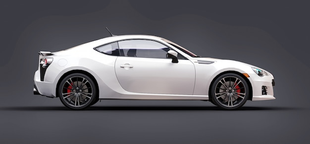 White small sports car coupe. 3d rendering. Premium Photo