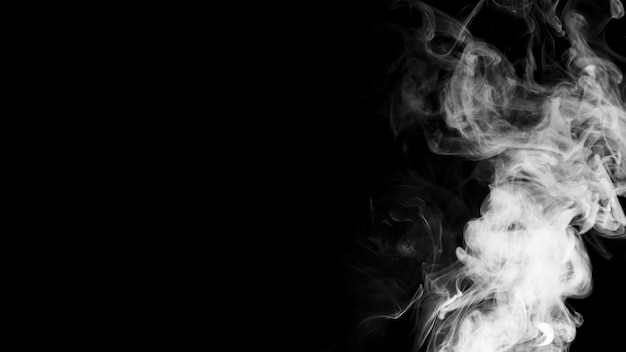 White smoke clouds on black background with copy space for writing the text Free Photo