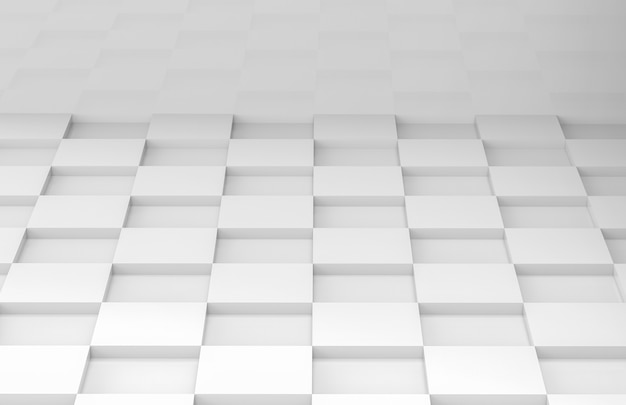 White square grid tile floor corner room wall Premium Photo