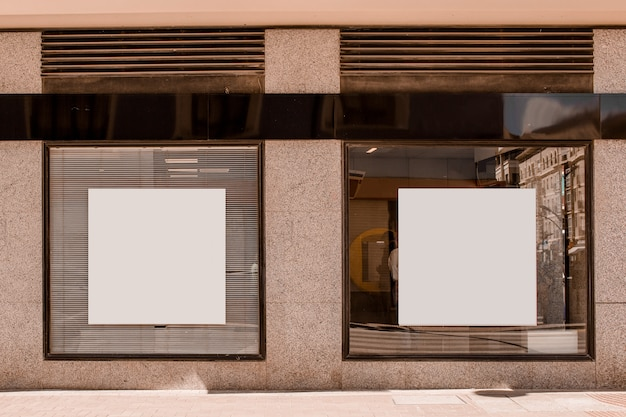 White square shape placard on the window Free Photo