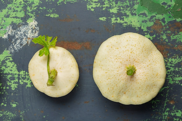 White squash vegetables on old iron Premium Photo