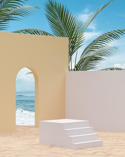 열대 나무와 바다 배경에 제품 배치를위한 모래 해변에 흰색 계단 연단 3d 렌더링 프리미엄 사진