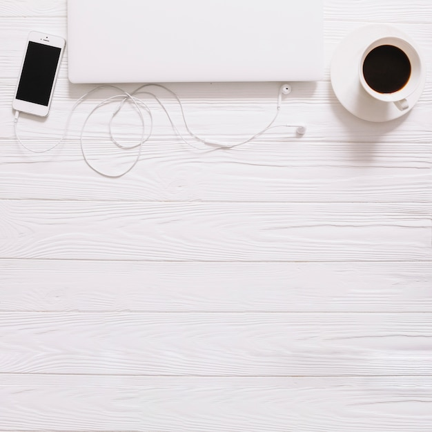 White still life with gadgets Free Photo