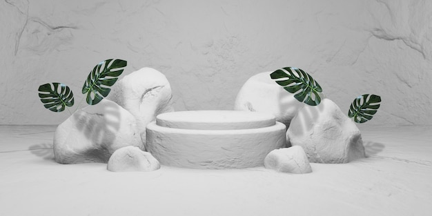 ディスプレイ用の表彰台付きの白い石。製品プレゼンテーション、3dレンダリング Premium写真