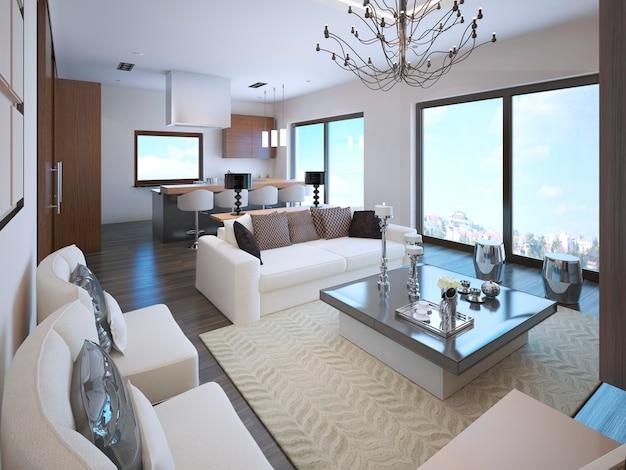 대형 파노라마 창문이있는 아르 데코 스타일의 흰색 스튜디오 아파트 인테리어. 프리미엄 사진