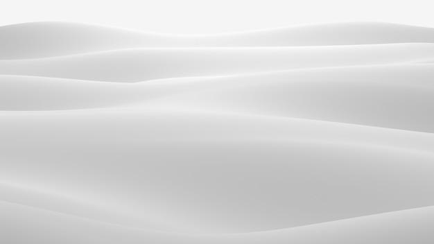 反射のある白い表面。滑らかな最小限の光波の背景。ぼやけた絹の波。最小限のソフトグレースケールリップルフロー。 3dレンダリングイラスト。 無料写真