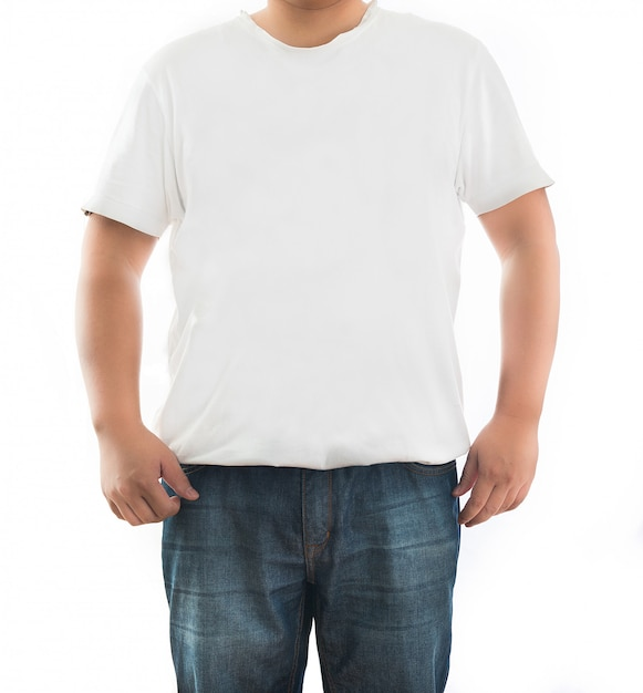 White t-shirt on a young man isolated Premium Photo
