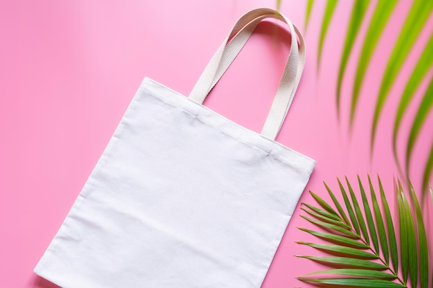 White tote bag canvas fabric. cloth shopping sack mockup with copy space. Premium Photo