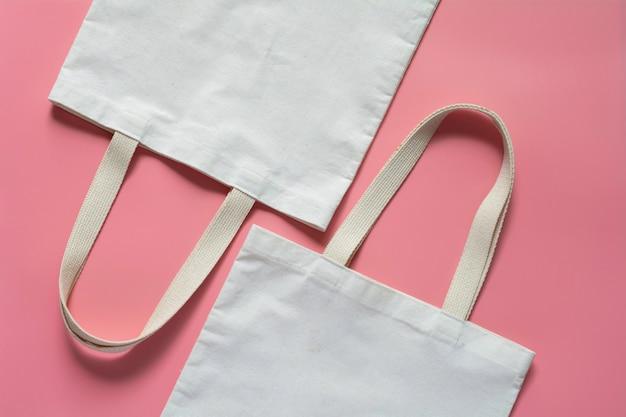 White tote bag canvas fabric. cloth shopping sack Premium Photo