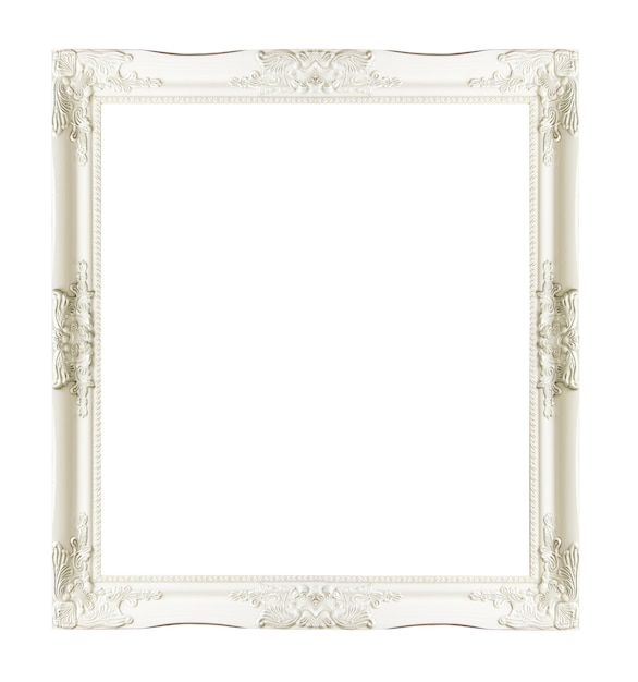 White vintage picture and photo frame isolated on white background. Premium Photo