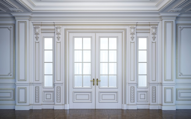 White wall panels in classical style with gilding. 3d rendering Premium Photo