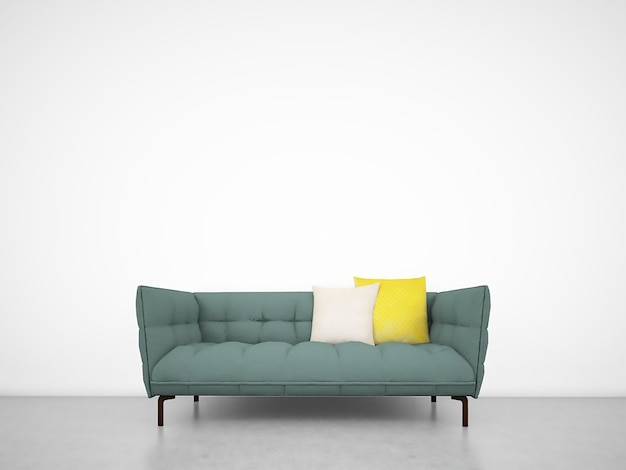 Bon White Wall With Sofa Premium Photo