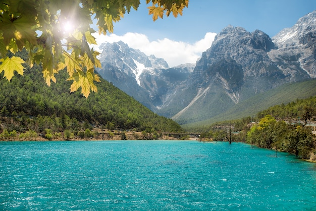 White water river waterfall and jade dragon snow mountain, lijiang, yunnan, china. Premium Photo