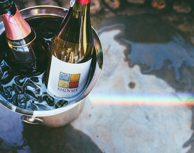 White wine in ice bucket Premium Photo