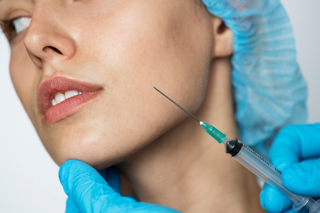 White woman aesthetic and cosmetic surgery concept Premium Photo