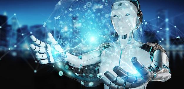 White woman humanoid using digital global network 3d rendering Premium Photo