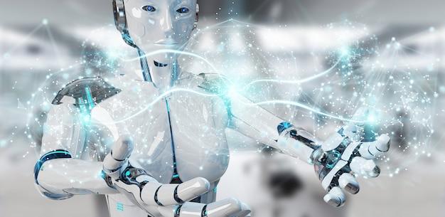 White woman humanoid using digital global network Premium Photo