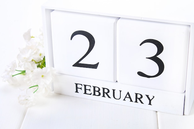White wooden calendar with black 23 february word with clock and plant on white wood table. Premium Photo