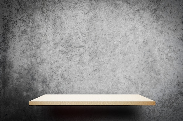 White wooden empty shelf on gray wall background for product display Premium Photo