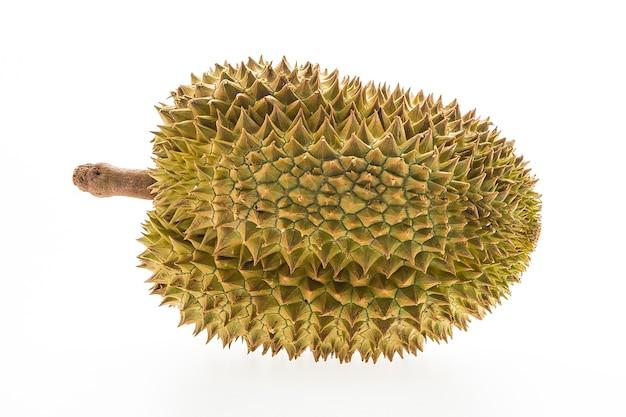 Whole durian on white background Free Photo