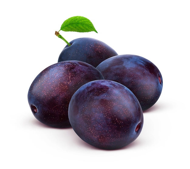 Whole plums isolated on white Premium Photo
