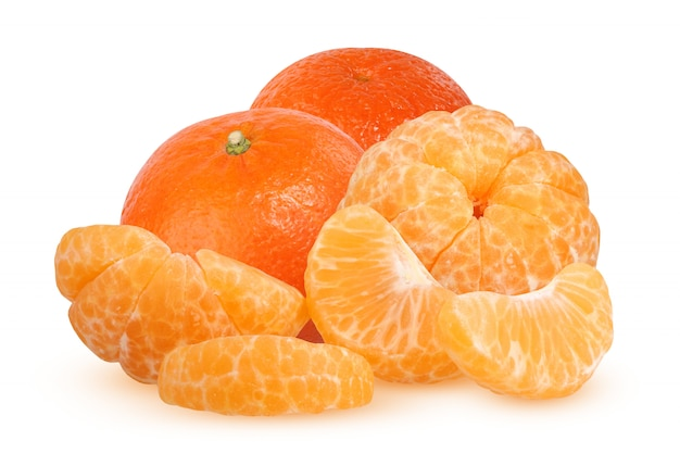 Whole and slices of peeled tangerine isolated on white background with shadow. citrus fruit. Premium Photo
