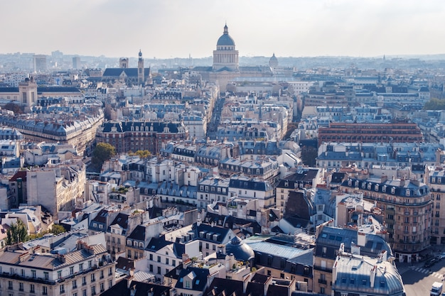 Wide aerial cityscape of paris Premium Photo