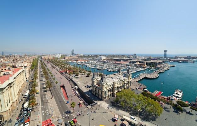 Wide angle shot of barcelona port Free Photo