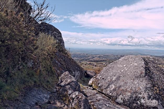 岩や小枝でいっぱいの山岳地帯の広角ショット 無料写真