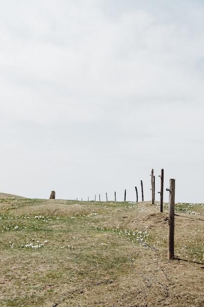 Широкоугольный снимок зеленой травы под облачным небом в окружении деревянного забора Бесплатные Фотографии