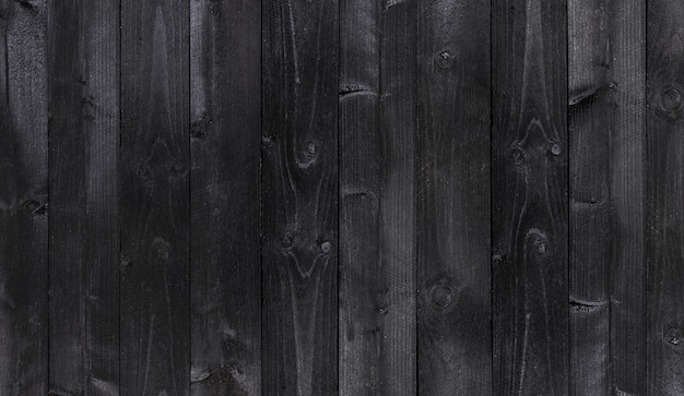Широкий черный деревянный фон, текстура старых деревянных планок Premium Фотографии