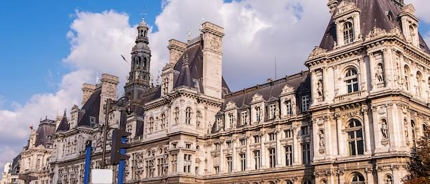 Wide panorama of hotel de ville in paris Premium Photo