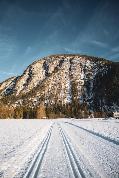 Ripresa a tutto campo di gran parte di una catena montuosa circondata da alberi e un'ampia strada coperta di neve Foto Gratuite