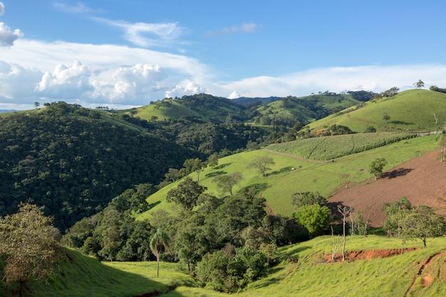 Wide view of the green hills of the serra da mantiqueira, in the state of minas gerais, brazil Premium Photo