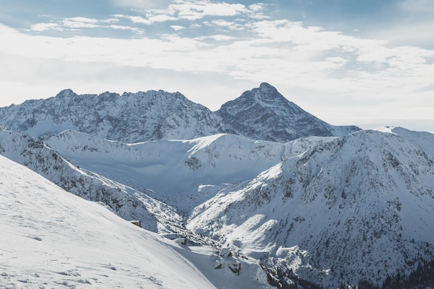 Wide view of the snowy peaks of the tatry mountains on the border of poland and slovakia. Premium Photo