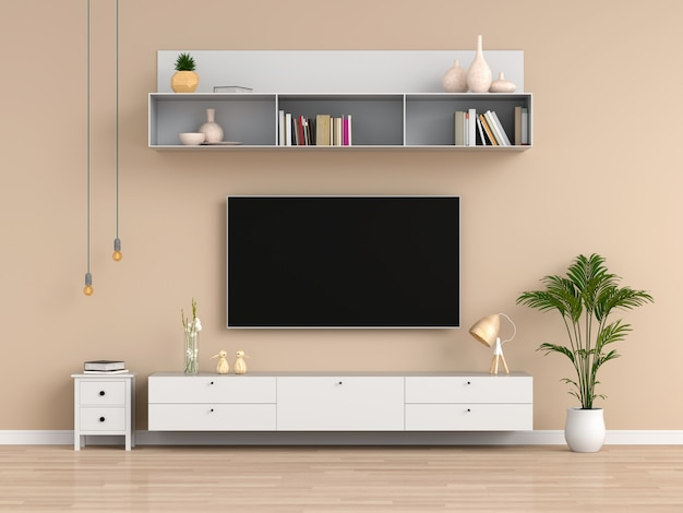 Widescreen tv and sideboard in brown living room Premium Photo