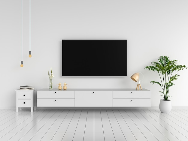 Widescreen tv and sideboard in living room Premium Photo
