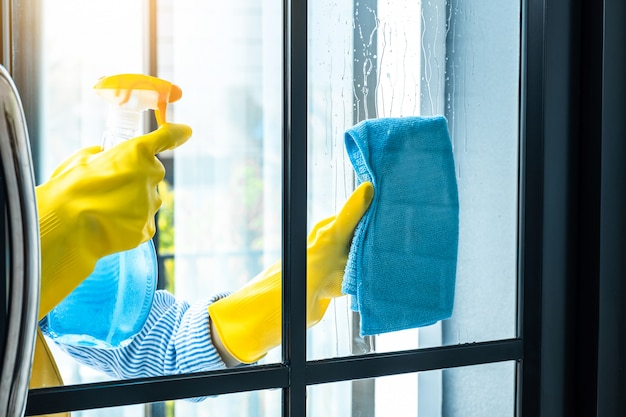 Wife housekeeping and cleaning concept, happy young woman wiping dust using a spray and a duster while cleaning in glass at home Premium Photo