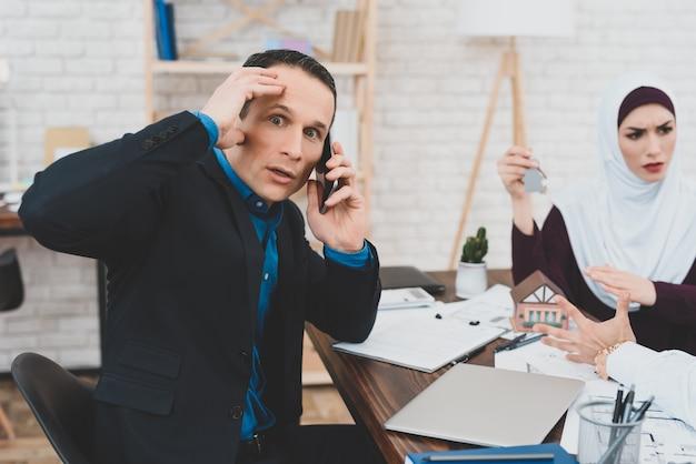 Wife and husband quarrel business advisor tired. Premium Photo