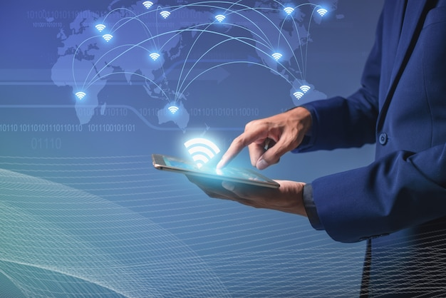 Wifi connection concept, touch screen device to connect to global cyber net, businessman ai smartphone online to social network, digital link to data information, internet of things online Premium Photo