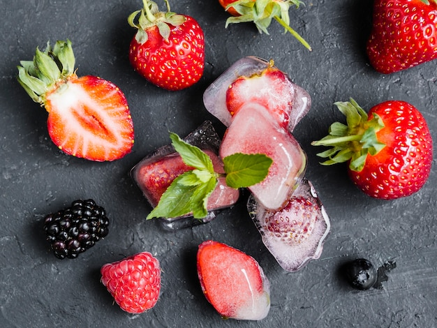 Wild berries in ice cubes Free Photo