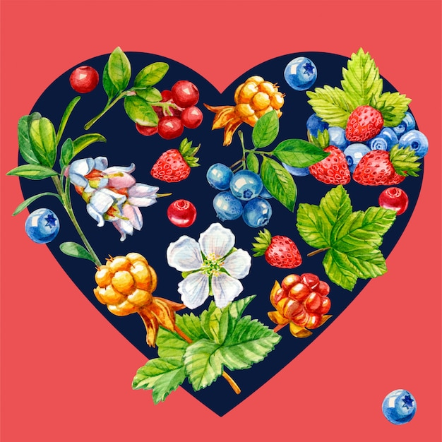 Wild berries in the shape of a heart Premium Photo